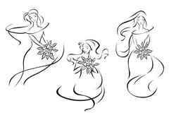 Silhouettes of beautiful brides with flowers Stock Illustration