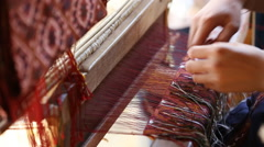 Traditional thai loom art work Stock Footage