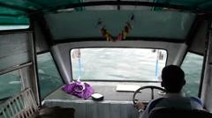 Boat driver on lake,Lake Toba,Sumatra,Indonesia Stock Footage