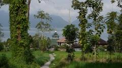 Trees and Mosque,Lake Maninjau,Sumatra,Indonesia Stock Footage