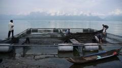 Fish farm,Lake Maninjau,Sumatra,Indonesia Stock Footage