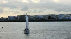 New Zealand Auckland sailboat tacking in front of Silo Park 4k 16 Stock Footage