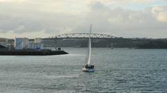 New Zealand Auckland sloop leans heading toward bridge 4k 12 - stock footage