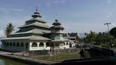 Mosque at lake,Lake Maninjau,Sumatra,Indonesia Stock Footage