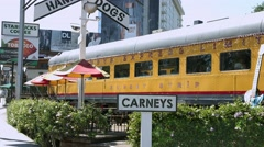 4K, UHD, Carneys Hot Dogs and Hamburgers restaurant on Sunset Strip, Los Angeles Stock Footage