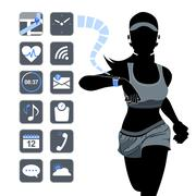 Smart device concept - fitness woman Stock Illustration