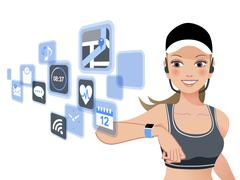 Fitness woman and smart watch device - stock illustration