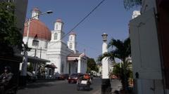 Blenduk Church with traffic,Semarang,Java,Indonesia Stock Footage