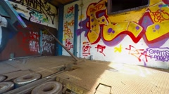 Graffiti junkyard scenes - steadicam Stock Footage