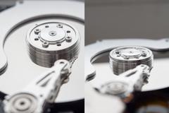 Closeup view of hdd cylinder Stock Photos