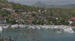 Village seen from above,Padangbai,Java,Indonesia Stock Footage