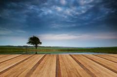 Moody stormy sky reflected in dew pond countryside landscape with wooden plan Stock Photos