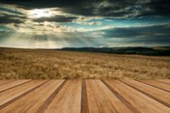 Stunning countryside landscape wheat field in Summer sunset with wooden plank Stock Illustration