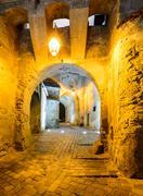 Clock tower passage in Sighisoara - stock photo