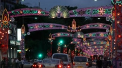 Street in Little India at Diwali,Singapore Stock Footage