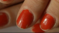 Chipped red nails Stock Footage