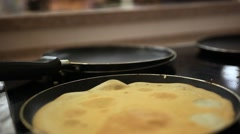 Pancakes fried in a pan. Close up. Macro. HD. 1920x1080 Stock Footage