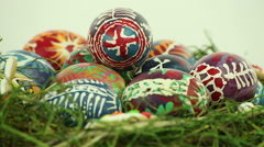 Easter nest with painted eggs Stock Footage