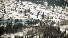 View of winter mountains and ski resort Sheregesh Russia Stock Footage