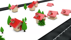 Simple 3D Houses & Trees Animating Up Along Roadside  Stock Footage