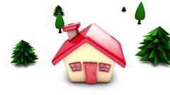 Simple cartoon house animating on screen - stock footage