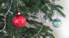 Christmas tree ball toys and decorations. Blinking white garland Stock Footage