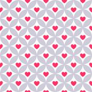 Heart shape vector seamless pattern. Pink color - stock illustration