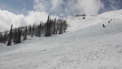 View of winter mountains and ski resort Stock Footage