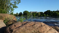 View of the rapid river Stock Footage