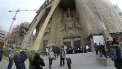 La Sagrada Familia in Barcelona, Spain Stock Footage