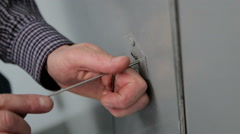 Opening the door pick. Stock Footage