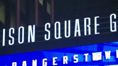 Madison Square Garden. Pan of Madison Square Garden Sign. Stock Footage