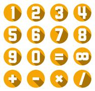 Collection of isolated yellow flat numbers and math symbols - stock illustration