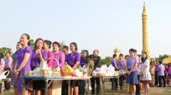 People give alms on princess Sirindhorn birthday,Ubon Ratchathani,Thailand Stock Footage