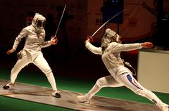 Womens Sabre match of World Fencing Championships - stock photo