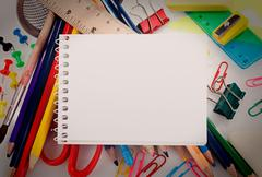 school stationery - stock photo