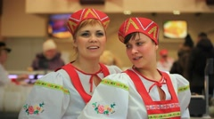 RUSSIA, MOSCOW, 7 MARCH 2015,  Smile young women in russian traditional costume Stock Footage