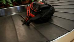 Backpack on the conveyor in the airport Stock Footage