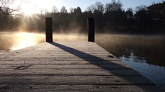Landing stage with early morning fog Stock Footage