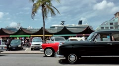 Aruba Oranjestad 007 old-timer cars prepared for the national holiday parade Stock Footage
