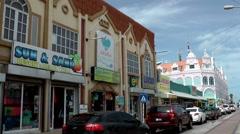 Aruba Oranjestad 010 shopping street with beautiful houses Stock Footage