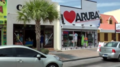 "Aruba Oranjestad 011 shopping street with an ""I Love Aruba"" - Store Stock Footage"