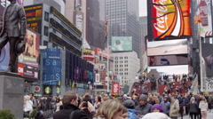 crossing street people crosswalk intersection busy crowded Times Square NYC 4K - stock footage