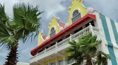 Aruba Oranjestad 028 kitschy Dutch house with yellow gables - stock footage