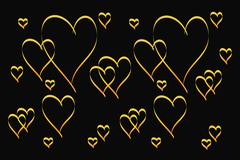 gold heart shape pattern - stock illustration