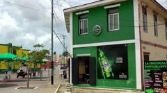 Aruba Oranjestad 034 opened corner pub in downtown - stock footage
