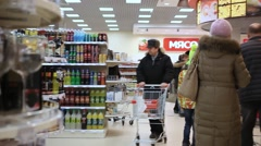 RUSSIA, MOSCOW, 7 MARCH 2015, People shopping at the grocery supermarket. HD Stock Footage