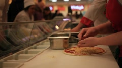 Process of preparing pizza in grocery store. HD. 1920x1080 Stock Footage