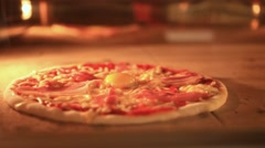 Timelapse speed up of italian pizza baking in traditional oven. Closeup. HD Stock Footage