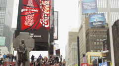 tourists posing pictures on red stairs busy crowded Times Square winter NYC 4K - stock footage